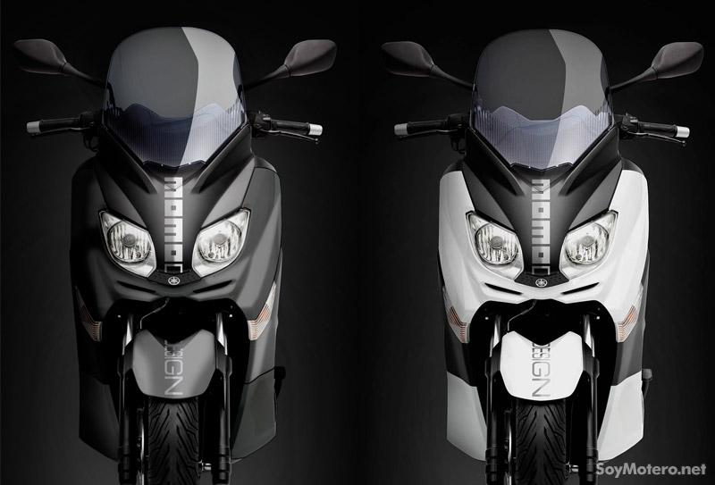 Yamaha X-Max Momodesign, frontal blanco y negro