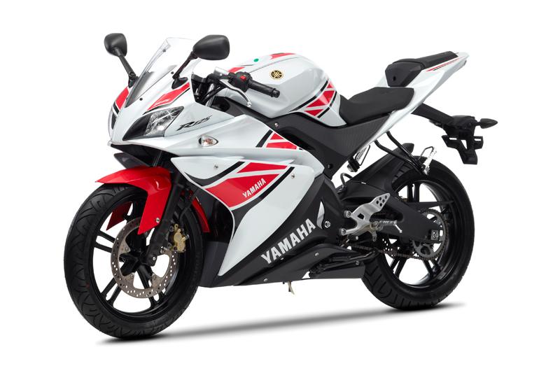 Yamaha YZF-R125 50th Anniversary blanca y roja frontal