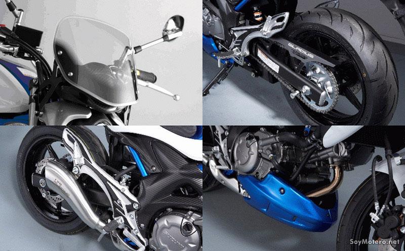 Suzuki Gladius - pantalla, quilla, silencioso Yoshimura, cubrecadena aluminio
