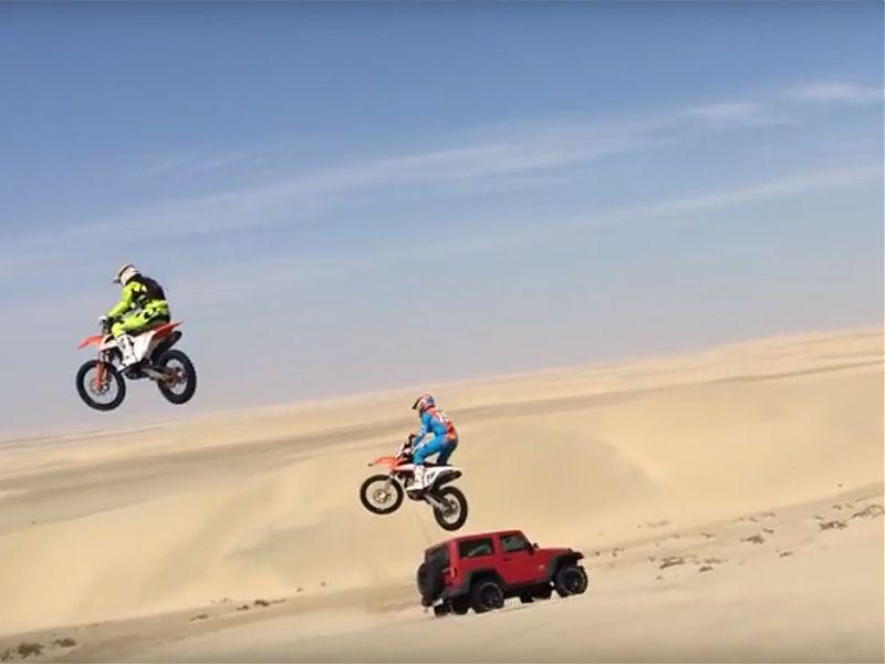 El desierto, un lugar seguro para saltar...