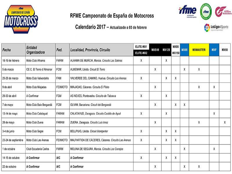 Calendarios MX RFME 2017.