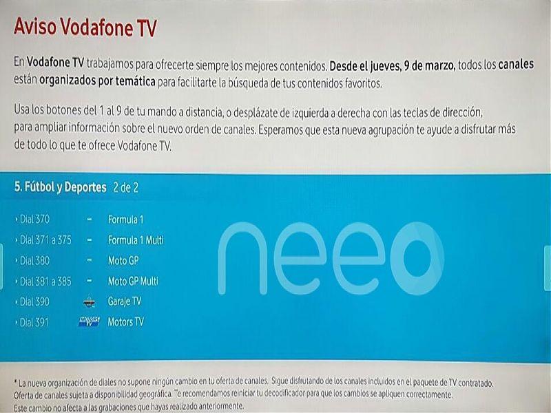 Cambio de diales Vodafone TV