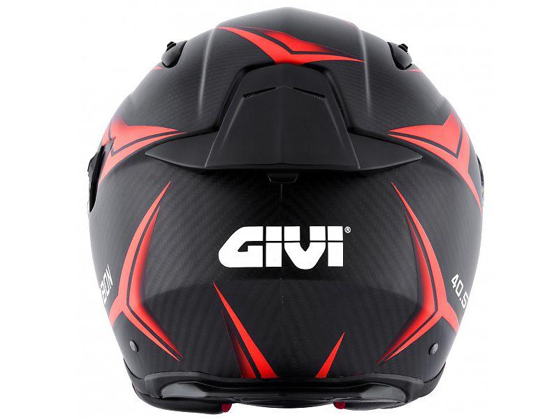 Parte trasera del nuevo casco 40.5 X-Carbon de GIVI rojo